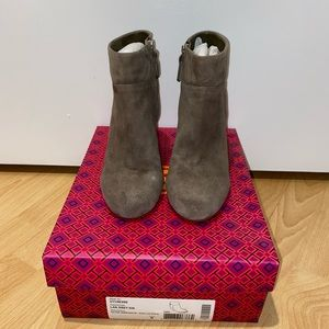 Tory Burch 100mm Grey Suede Booties